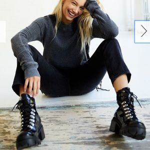 Jeffrey Campbell Check Lace-Up Boot in Black Box